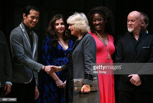 Camilla Duchess of Cornwall greets members of Man of La Mancha as opera and musical theatre performer Anthony Warlow during her visit to the...