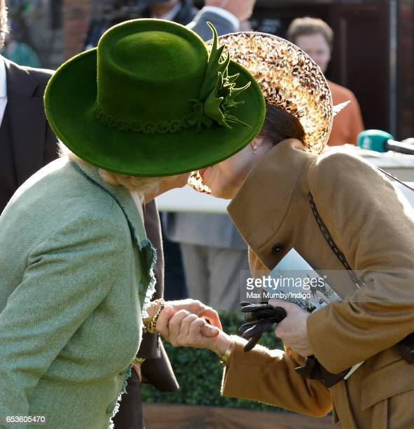 Camilla Duchess of Cornwall greets Princess Anne The Princess Royal with a kiss as they attend day 2 'Ladies Day' of the Cheltenham Festival at...