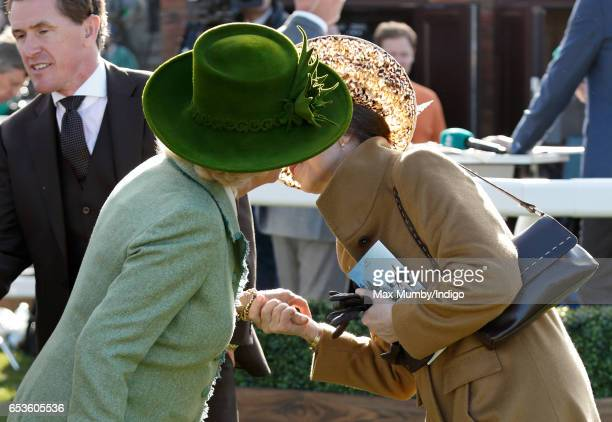 Camilla, Duchess of Cornwall greets Princess Anne, The Princess Royal with a kiss as they attend day 2 'Ladies Day' of the Cheltenham Festival at...