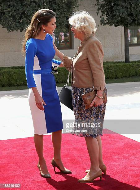 Camilla Duchess of Cornwall greets Queen Rania of Jordan during a visit to the Royal Palace on the second day of Charles and Camilla's visit to the...