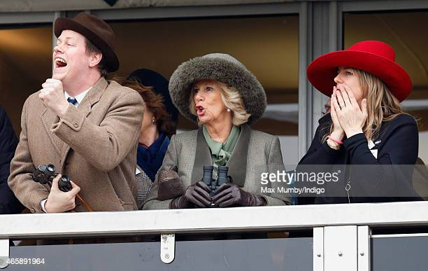 Camilla, Duchess of Cornwall her son Tom Parker Bowles and daughter Laura Lopes watch the racing as they attend day 2 of the Cheltenham Festival at...