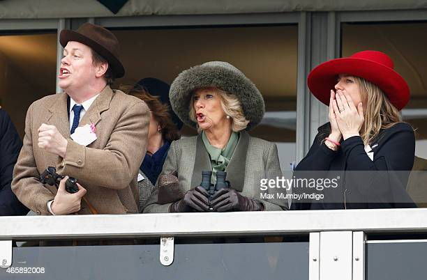 Camilla Duchess of Cornwall her son Tom Parker Bowles and daughter Laura Lopes watch the racing as they attend day 2 of the Cheltenham Festival at...