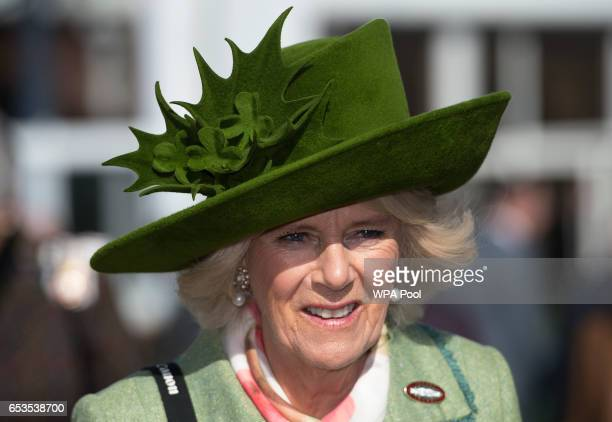 Camilla Duchess of Cornwall Honorary Member of the Jockey Club attends the second day of The Festival Ladies Day at Cheltenham Racecourse on March 15...