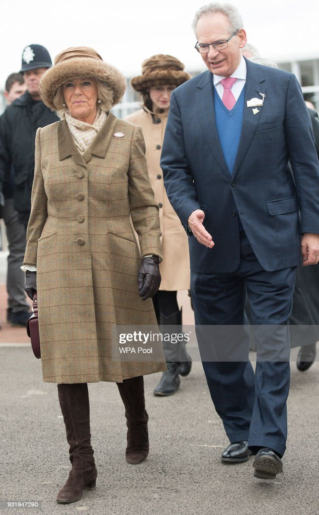 Camilla, Duchess of Cornwall Honorary Member of the Jockey Club walks with with Robert Waley-Cohen as she attends the second day of The Festival, Ladies Day at Cheltenham Racecourse on March 14, 2018 in Cheltenham, England. The Duchess