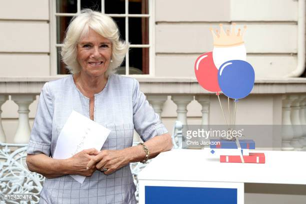 Camilla Duchess of Cornwall hosts a tea party to celebrate the Duchess's Bookshelves Project at Clarence House on July 11 2017 in London England The...