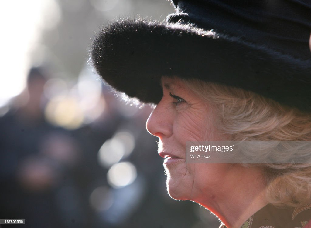 Camilla, Duchess of Cornwall (R), in her role as Commodore in Chief, Royal Naval Medical Services, attends a ceremony to present Operational Campaign Medals for service in Afghanistan to Royal Navy Medics at Whale Island, Portsmouth.
