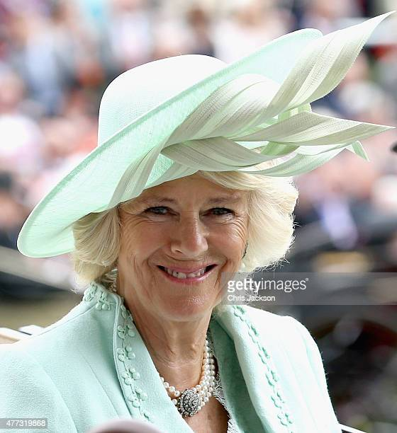 Camilla Duchess of Cornwall in the parade ring on day 1 of Royal Ascot at Ascot Racecourse on June 16 2015 in Ascot England