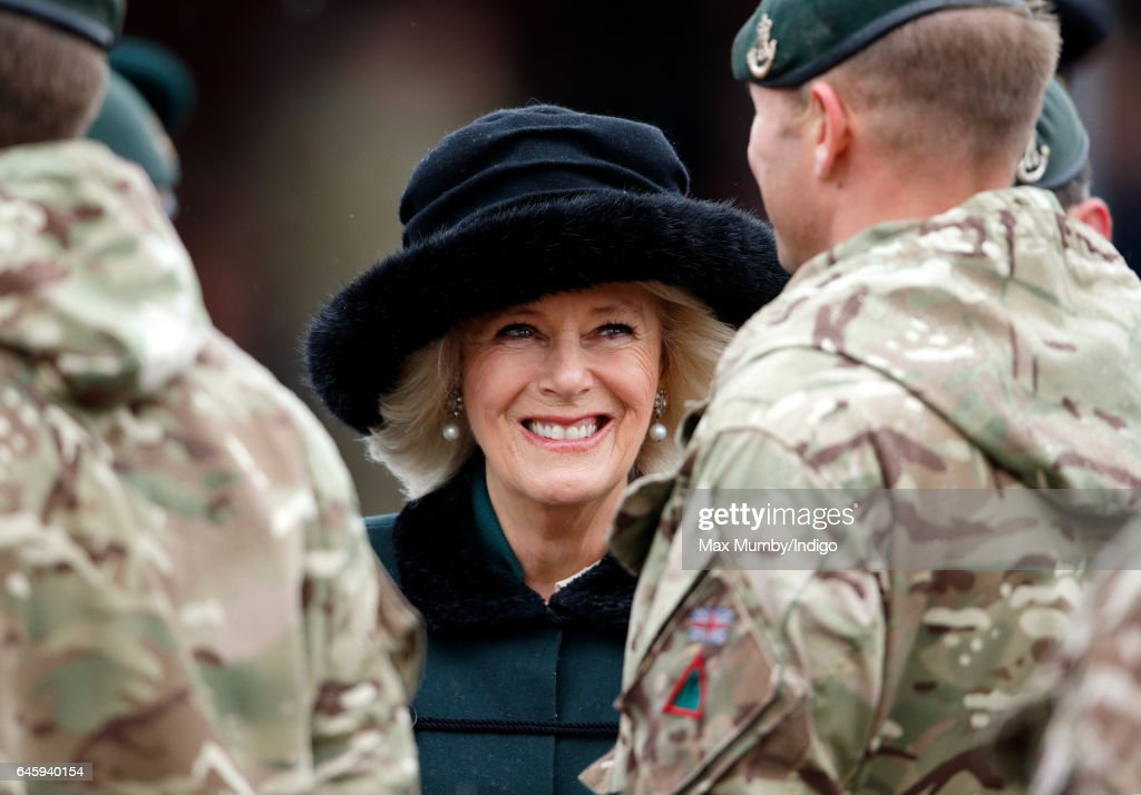 Camilla, Duchess of Cornwall (in her role as Royal Colonel, 4th Battalion The Rifles) inspects soldiers of 4th Battalion The Rifles during a homecoming parade of Riflemen who have recently returned from deployment to Iraq on February 27, 2017 in Aldershot, England.