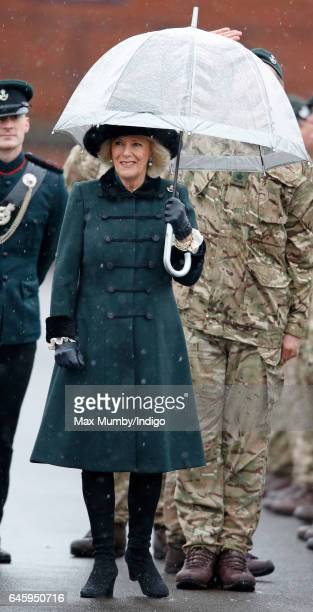 Camilla Duchess of Cornwall inspects soldiers of 4th Battalion The Rifles during a homecoming parade of Riflemen who have recently returned from...