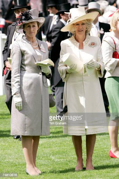 Camilla Duchess of Cornwall is accompanied by the Duchess of Devonshire on the second day of Royal Ascot Races on June 20 2007 in Ascot England