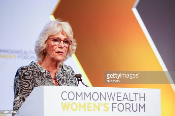 Camilla Duchess of Cornwall is giving her final remarks at the Womens Forum during Commonwealth Heads of Government Meeting in Queen Elizabeth II...