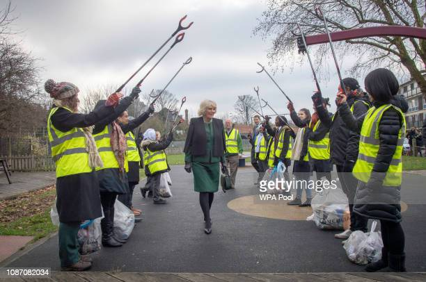 Camilla Duchess of Cornwall is greeted by a Guard of Honour during her visit to the Malmesbury Residents Association on January 23 2019 in London...