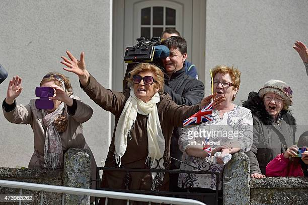 Camilla Duchess of Cornwall is greeted by members of the public uring a visit to the Claddagh National School on May 19 2015 in Ireland Galway The...