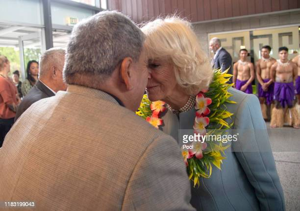 Camilla, Duchess of Cornwall is greeted with a Hongi as she visits Wesley Community Centre Auckland on November 18, 2019 in Auckland, New Zealand....