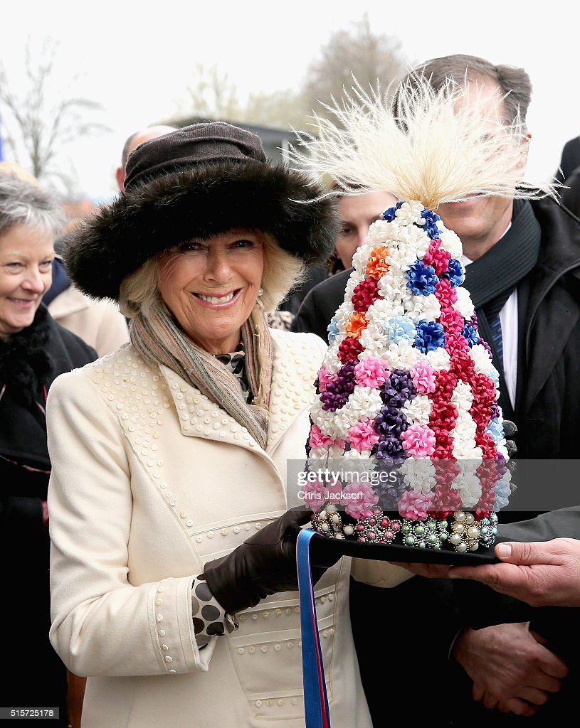 Camilla, Duchess of Cornwall is presented with a traditional Croatian hat during a visit to Djakovo Stud Farm on March 15, 2016 in Osijek, Croatia. The Prince and the Duchess are on the second day of a two day visit to Croatia.