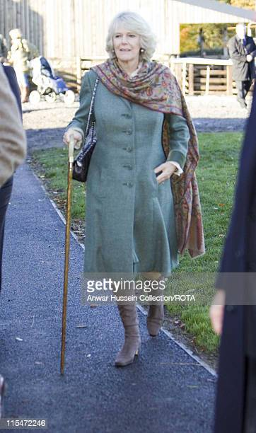 Camilla Duchess of Cornwall is presented with a walking cane when she visits Dunterly Farm in Norhumberland on November 9 2006