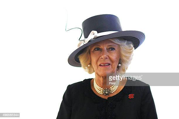 Camilla Duchess of Cornwall is seen at a book signing ceremony during Remembrance Day commemorations at the Australian War Memorial on November 11...