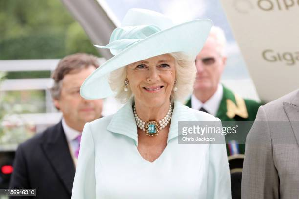 Camilla, Duchess of Cornwall is seen during the presentation of the Prince of Wale's Stakes on day two of Royal Ascot at Ascot Racecourse on June 19,...