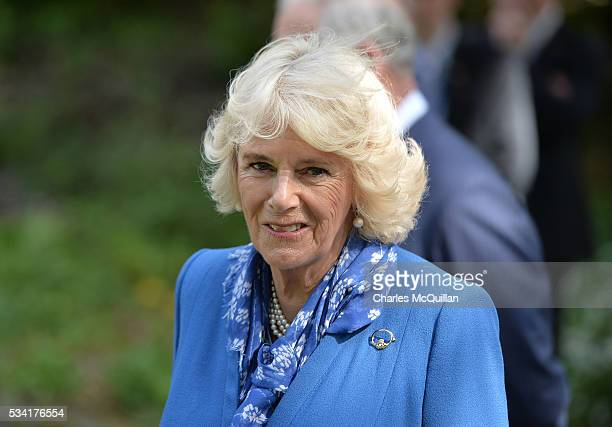 Camilla Duchess of Cornwall is seen in the walled garden during her visit to Glenveagh Castle on May 25 2016 in Letterkenny Ireland The royal couple...