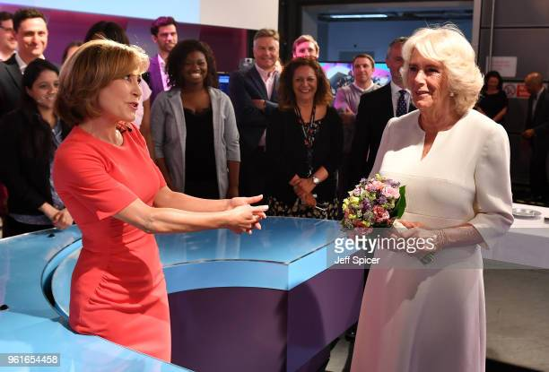 Camilla Duchess of Cornwall is with journalist Sian Williams as she visits the headquarters of Independent Television News Ltd to mark the 21st...