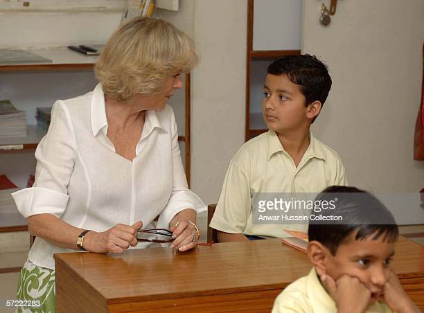 Camilla Duchess of Cornwall joins a class at the Montessori Palace School in Jaipur on the final day of a 12 day official tour visiting Egypt Saudi...