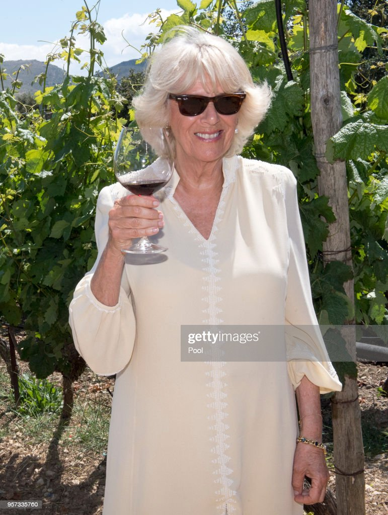 Camilla, Duchess of Cornwall joins a wine tasting reception for members of staff and other local wine producers during a visit to Lyrarakis Winery on May 11, 2018 in Crete, Greece.