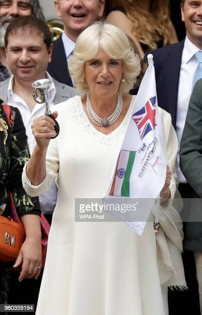 Camilla Duchess of Cornwall Joint President Elephant Family looks at motorbikes before officially launching the Concours d'elephant a cavalcade of...