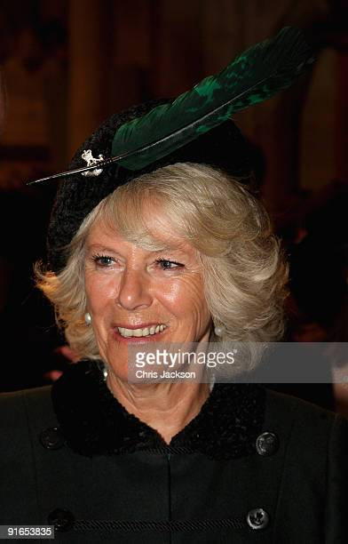 Camilla, Duchess of Cornwall laughs as he chats with soldiers during a reception at London Guildhall after a Service of Commemoration to mark the end...