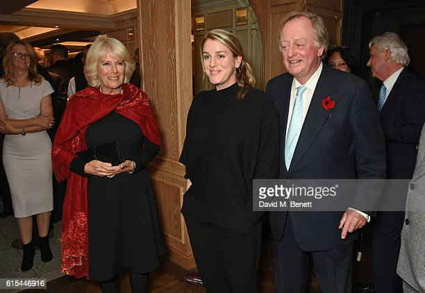 Camilla Duchess of Cornwall Laura Lopes and Andrew Parker Bowles attend the launch of 'Fortnum Mason The Cook Book' by Tom Parker Bowles at Fortnum...