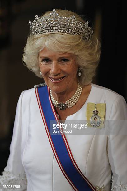 Camilla, Duchess of Cornwall leaves after the State Opening of Parliament the Houses of Parliament on May 18, 2016 in London, England. The State...