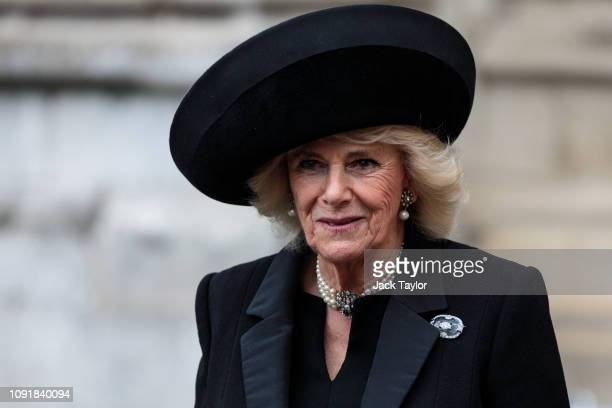 Camilla Duchess of Cornwall leaves following a memorial service for Conservative Peer Lord Carrington at Westminster Abbey on January 31 2019 in...