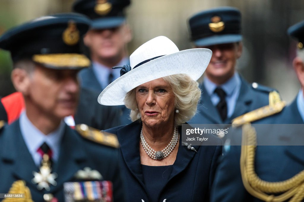 Camilla, Duchess of Cornwall leaves following a service to mark the 77th anniversary of the Battle of Britain at Westminster Abbey on September 17, 2017 in London, England. The annual service remembers the pilots and aircrew of the Royal Air Force who lost their lives in the 1940 Battle of Britain during World War II.