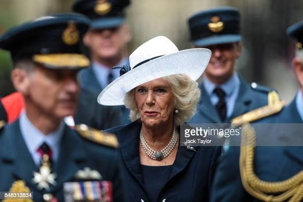 Camilla Duchess of Cornwall leaves following a service to mark the 77th anniversary of the Battle of Britain at Westminster Abbey on September 17...