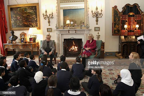Camilla Duchess of Cornwall listens to a story telling session at Clarence House to mark the 15th Anniversary of the National Young Readers'...