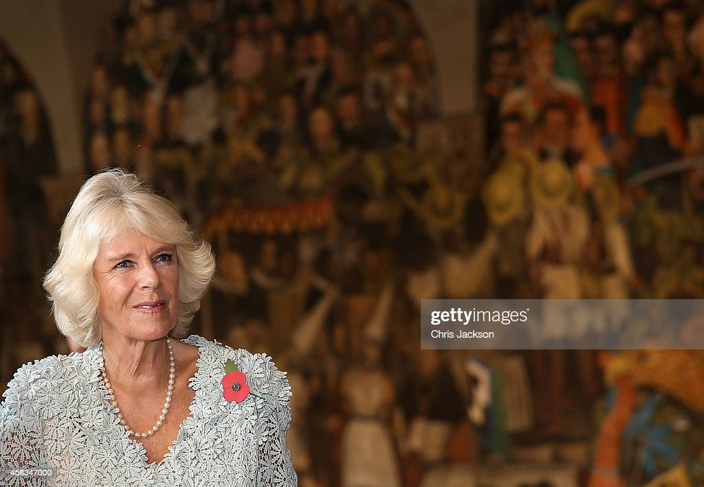 Camilla, Duchess of Cornwall looks at traditional Mexican murals at the National Palace on November 3, 2014 in Mexico City,Mexico. The Royal Couple are on the second day of a four day visit to Mexico as part of a Royal tour to Colombia and Mexico.