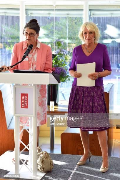 Camilla Duchess of Cornwall looks on as Dame Marina Warner President of Royal Society of Literature speaks at The Royal Society of Literature '40...