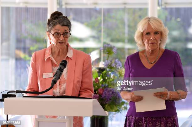 Camilla Duchess of Cornwall looks on as Dame Marina Warner President of Royal Society of Literature speaks at The Royal Society of Literature '40...