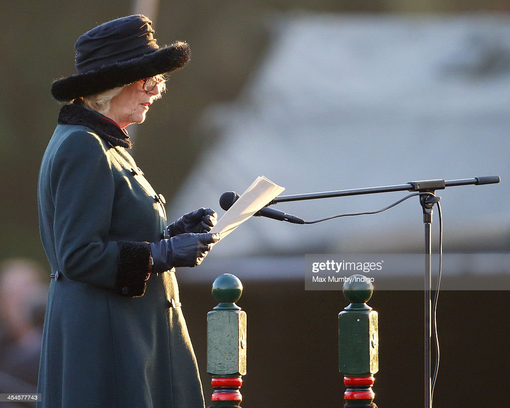 Camilla, Duchess of Cornwall (in her role as Royal Colonel) makes a speech as she attends a medals parade for soldiers of 4th Battalion The Rifles on their return from Afghanistan at Ward Barracks, Bulford Camp on December 9, 2013 in Wiltshire, England.
