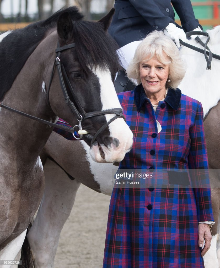 Camilla, Duchess of Cornwall meet horses as she visits Ebony Horse Club to celebrate the club's 21st anniversary on February 16, 2017 in London, England. on February 16, 2017 in London, England.