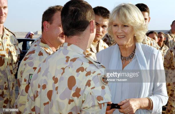 Camilla Duchess of Cornwall meets a detachment of RAF Tornado aircrew and RAAF aircrew when she visits the US Airbase Al Udeid outside Doha in Qatar...