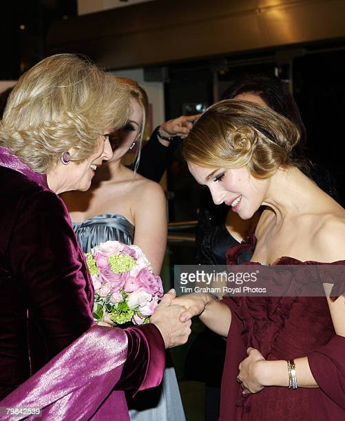 Camilla Duchess of Cornwall meets actress Natalie Portman who bows to her at the movie film premiere of 'The Other Boleyn Girl' held at the Odeon...