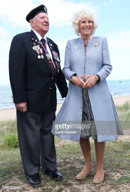 Camilla Duchess of Cornwall meets Canadian Veterans on Juno Beach during the D Day 70 Commemoration on June 5 2014 in Courseulles Sur Mer France