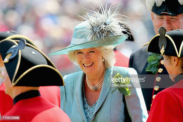 Camilla, Duchess of Cornwall meets Chelsea Pensioners as she visits the Royal Hospital Chelsea to review The Founder's Day Parade on June 6, 2013 in...