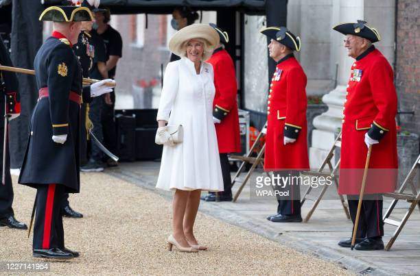 Camilla Duchess Of Cornwall meets Chelsea Pensioners during a visit to the Royal Hospital Chelsea on July 15 2020 in London England