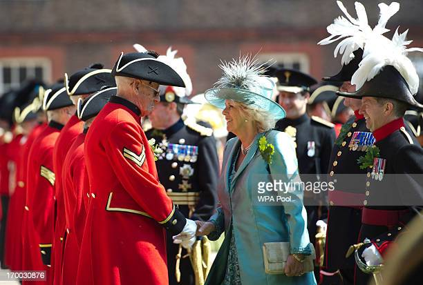 Camilla, Duchess of Cornwall meets Chelsea Pensioners during the annual Founders Day Parade at the Royal Hospital Chelsea on June 6, 2013 in London,...