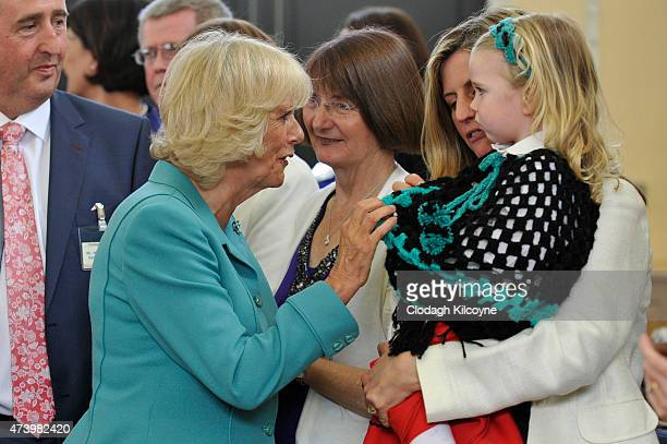 Camilla Duchess of Cornwall meets children after listening to a choir a Claddagh Primary School on May 19 2015 in Galway Ireland The Prince of Wales...