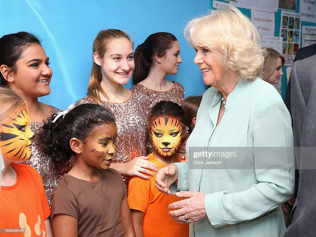 Camilla, Duchess of Cornwall meets children as she visits the British School in Muscat on the ninth day of a tour of the Middle East on March 19, 2013 in Muscat, Oman. The Royal couple are on the fourth and final leg of a tour of the Middle East taking in Jordan, Qatar, Saudia Arabia and Oman.