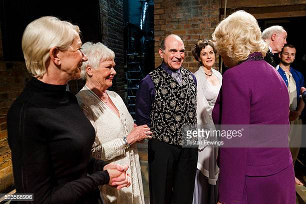 Camilla Duchess of Cornwall meets Dame Helen Mirren Dame Judi Dench and David Suchet backstage following the performance of Shakespeare Live from the...