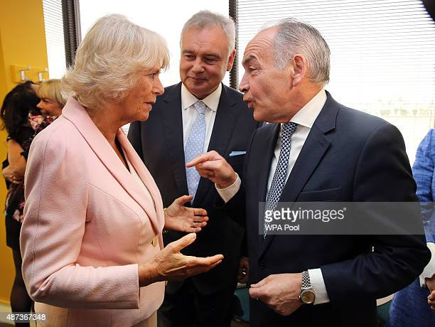 Camilla Duchess of Cornwall meets Eamonn Holmes and Alastair Stewart as she visits ITV Studios to mark their 60th Anniversary at London Television...