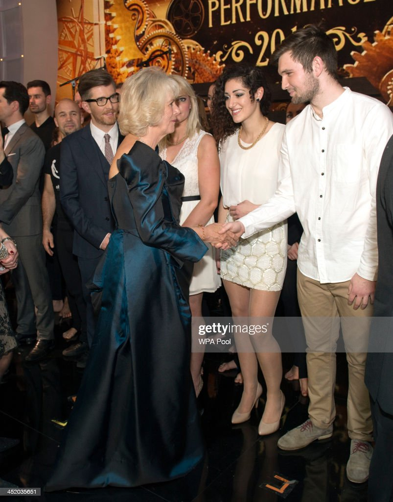 Camilla, Duchess of Cornwall meets Gareth Malone and his singers at the Royal Variety Performance at London Palladium on November 25, 2013 in London, England.